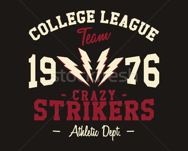 American football college league badge, logo, label, insignia in retro color style. Graphic vintage  Stock photo © JeksonGraphics