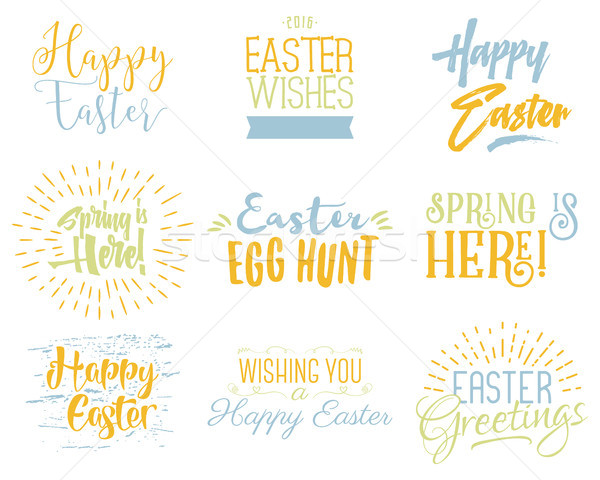Easter wishes overlays, lettering labels design set. Holiday easter badges. Hand drawn emblems. Isol Stock photo © JeksonGraphics