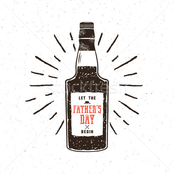 Rum bottle in retro style with sigh - let the fathers day begin. Funny vector concept for celebratio Stock photo © JeksonGraphics