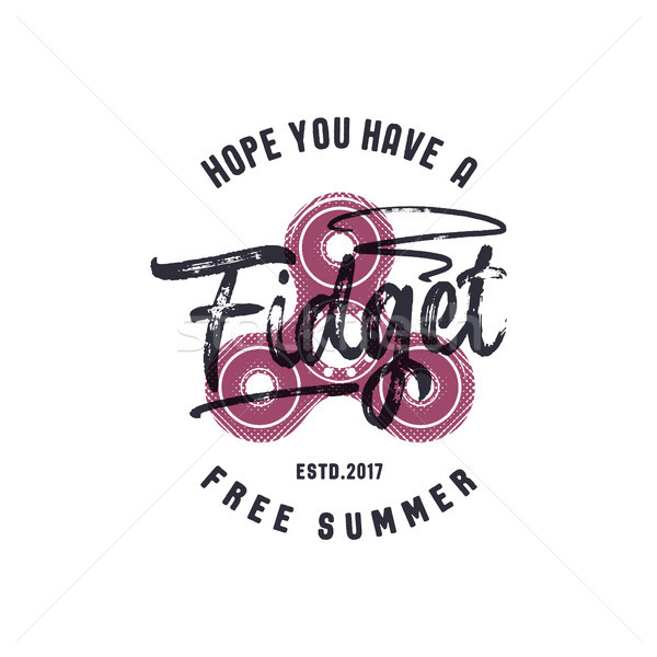 Hand Spinner emblem with funny sign - hope you have a fidget free summer. Graphic tee design. T shir Stock photo © JeksonGraphics