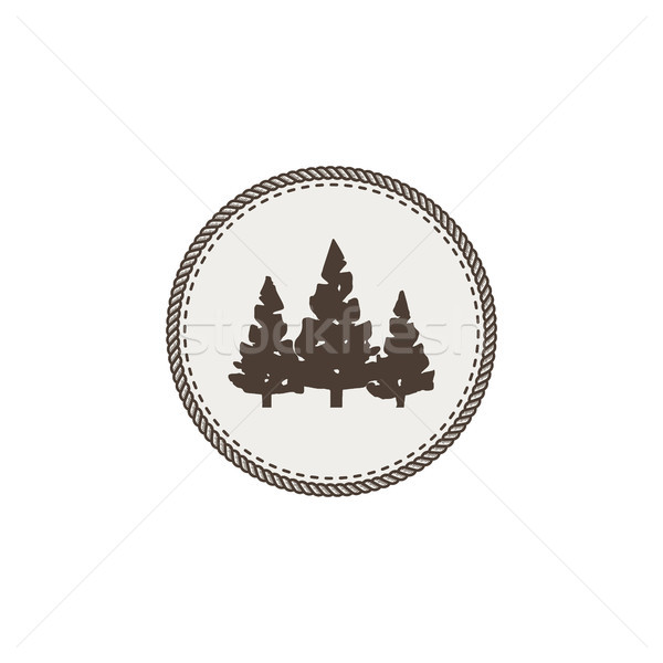 Trees icon, patch and sticker. Vintage hand drawn outdoor adventure design. Camping symbol. Stock ve Stock photo © JeksonGraphics