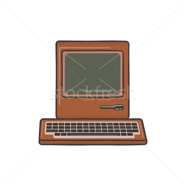 Vintage dibujado a mano ordenador personal teclado edad clásico Foto stock © JeksonGraphics