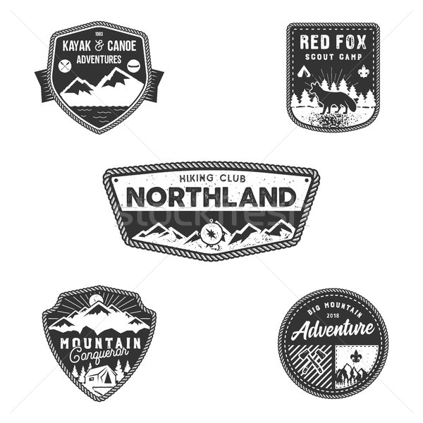 Travel badge, outdoor activity logo collection. Scout camps emblems. Vintage hand drawn travel badge Stock photo © JeksonGraphics