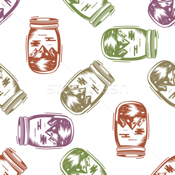 Avventura jar bottiglia montagna simboli Foto d'archivio © JeksonGraphics