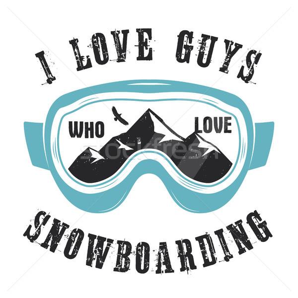 Montanha snowboard logotipo óculos emblema Foto stock © JeksonGraphics