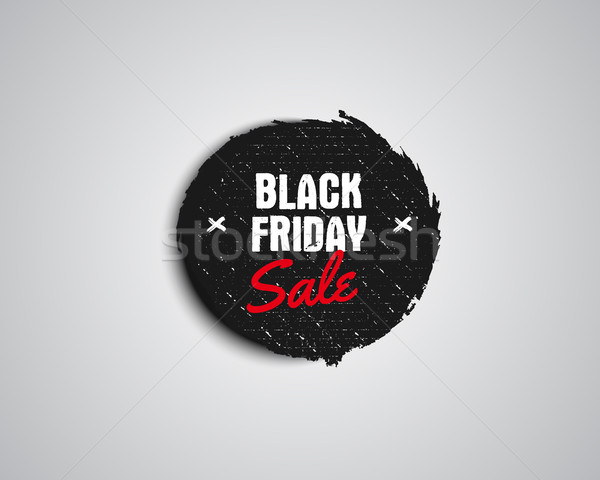 Black Friday sale black tag, round banner, advertising button, label, badge design. Vector Stock photo © JeksonGraphics