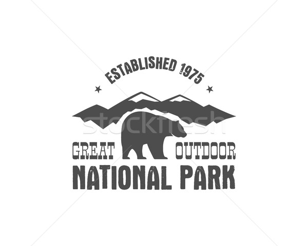 National park old style badge. Mountain explorer label. Outdoor adventure logo design with bear. Tra Stock photo © JeksonGraphics