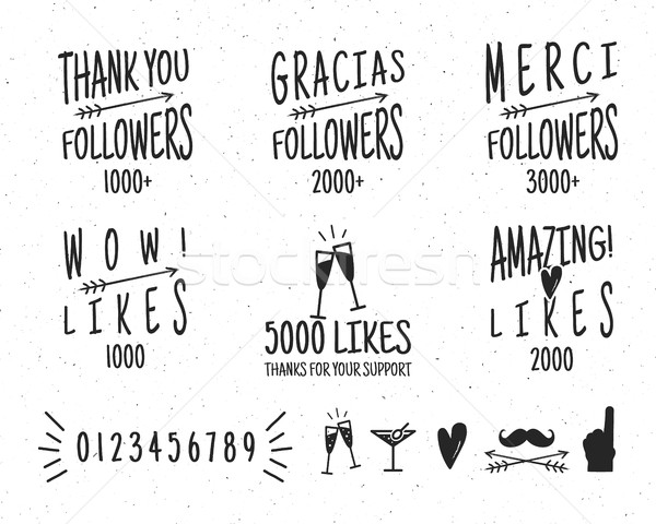 Set of vintage Thanks badges. Social media Followers labels and likes stickers. Handwriting letterin Stock photo © JeksonGraphics