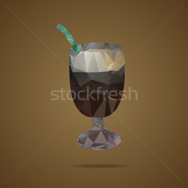 Beker koffie groene bruin driehoek ontwerp Stockfoto © JeksonGraphics