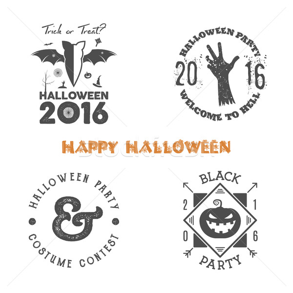 Halloween 2016 party label templates with scary symbols - zombie hand, bat, spider web, pumpkin and  Stock photo © JeksonGraphics