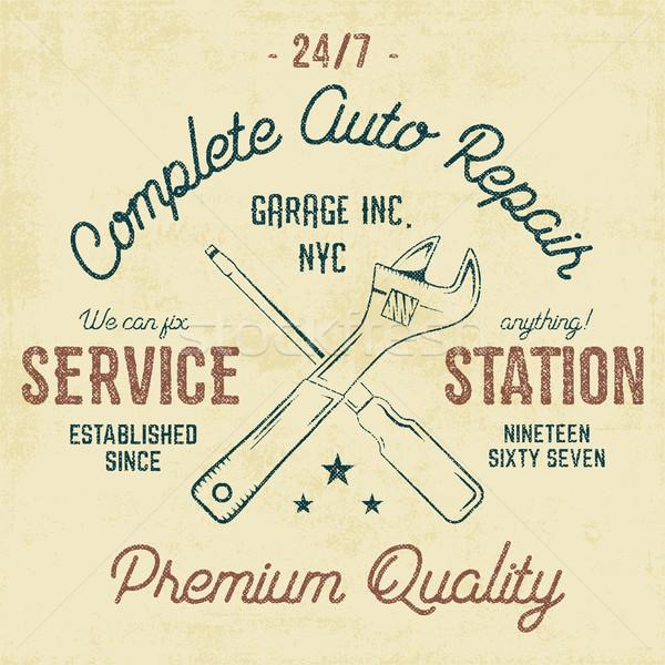 Service station vintage label, tee design graphics, auto repair service typography print. T-shirt st Stock photo © JeksonGraphics