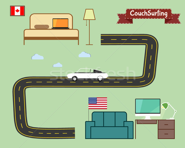 Couch surfing concept. Travel infographic. Share your sofa. Car on the road. 2015. Travel all over t Stock photo © JeksonGraphics