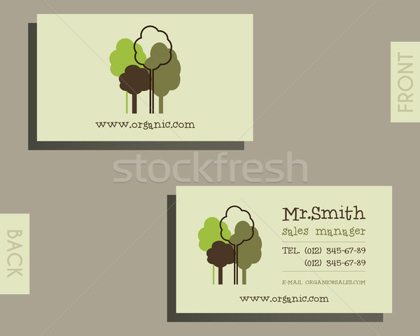 Eco, organic visiting card template. For natural shop products and other bio, organic business, them Stock photo © JeksonGraphics