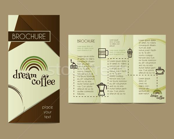 Kávé brosúra szórólap terv elrendezés sablon Stock fotó © JeksonGraphics