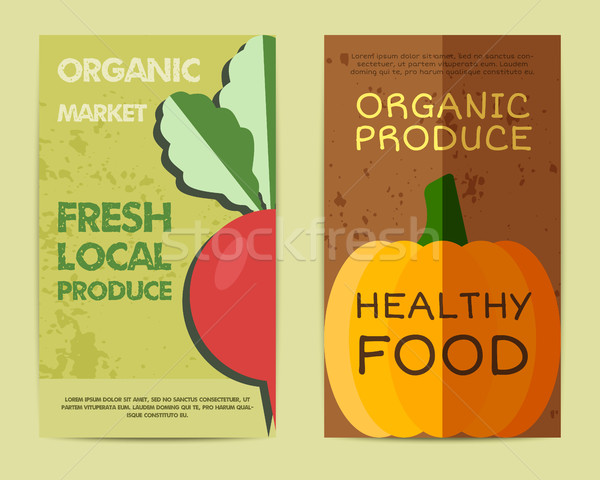 Set of Stylish Farm Fresh flyer, template or brochure design with radish and pumpkin. Mock up design Stock photo © JeksonGraphics