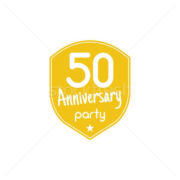 50 anni anniversario party badge segno emblema Foto d'archivio © JeksonGraphics