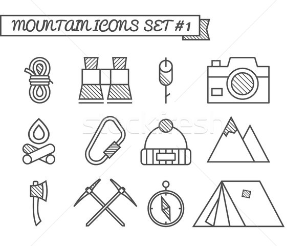 Set of Camping, travel icons, thin line style, flat design. Mountain climbing theme with touristic t Stock photo © JeksonGraphics