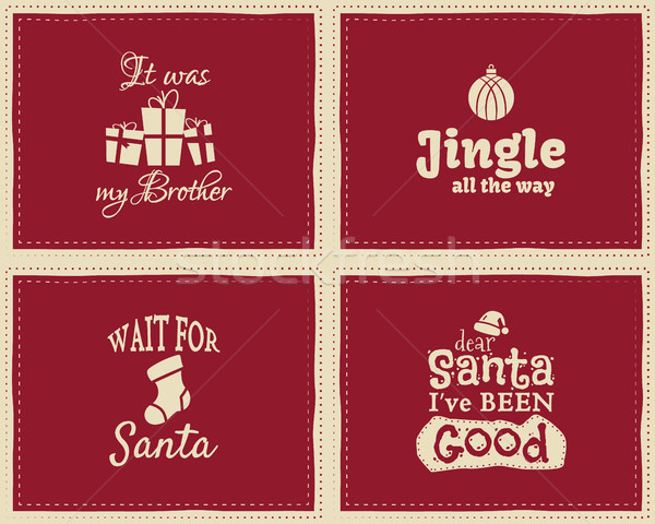Set of unique Christmas funny signs, quotes backgrounds designs for kids - jingle all the way. Nice  Stock photo © JeksonGraphics