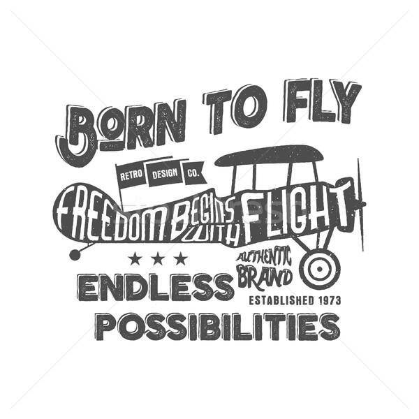Vintage самолет печати вектора старые школы Сток-фото © JeksonGraphics
