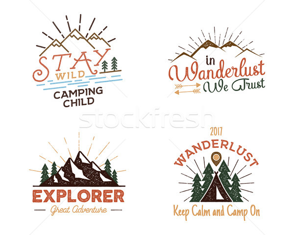 Set of outdoors activity badges. Retro illustration outdoor labels. Typography and roughen style.  l Stock photo © JeksonGraphics
