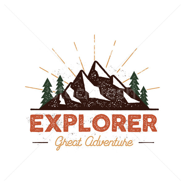 Outdoor explorer badge retro illustrazione etichetta Foto d'archivio © JeksonGraphics