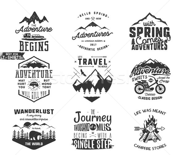 Spring adventure and mountain explorer typography labels set. Outdoors activity inspirational insign Stock photo © JeksonGraphics