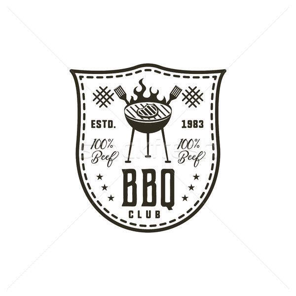BBQ club label in monochrome style. Invitation to grill, barbeque event. Isolated on white backgroun Stock photo © JeksonGraphics