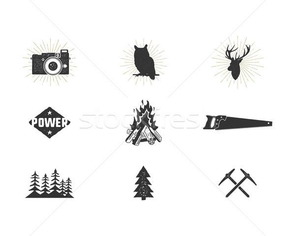 Outdoor avontuur silhouet klim camping Stockfoto © JeksonGraphics
