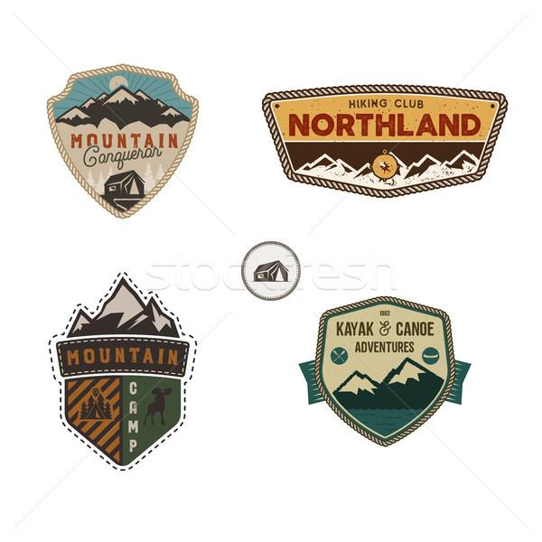 Voyage badge extérieur activité logo ensemble Photo stock © JeksonGraphics