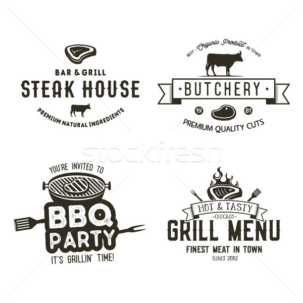 Vintage hand drawn steak house logo set, bbq party, barbecue grill badges, labels. Retro typography  Stock photo © JeksonGraphics