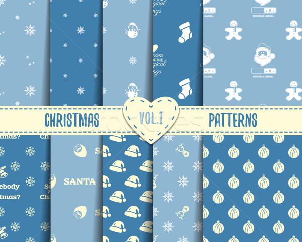 Set Natale natale sfondi texture Foto d'archivio © JeksonGraphics