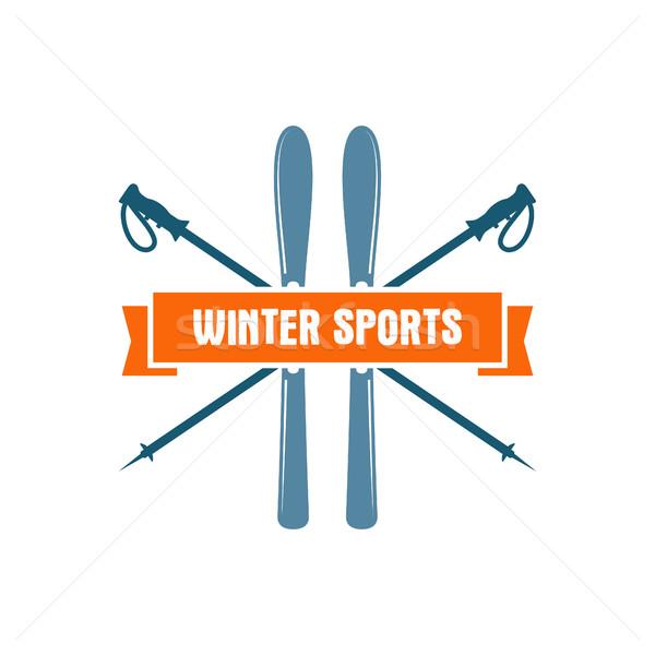 Сток-фото: зима · спортивных · Label · Vintage · горные · исследователь