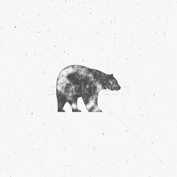 Vintage ours dessinés à la main slogan rétro monochrome Photo stock © JeksonGraphics
