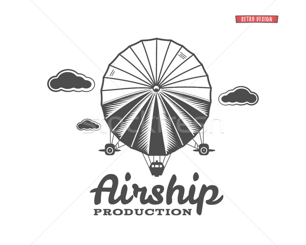 Vintage airship logo. Retro Dirigible balloon grunge template. Badge design. Old sketching style. Us Stock photo © JeksonGraphics