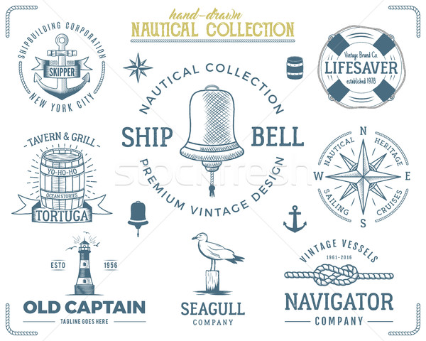 Vintage nautical stamps set. Old ship retro style. Sailing labels, emblems illustration. graphic sym Stock photo © JeksonGraphics
