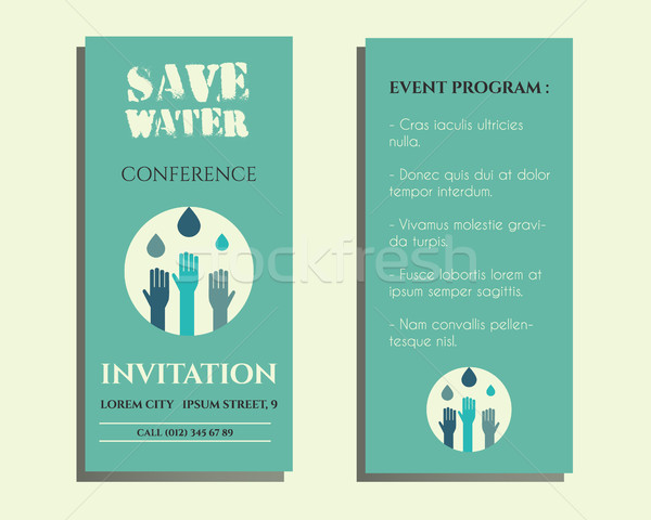 Save Water Conference Flyer Invitation Template With Drops And Hands