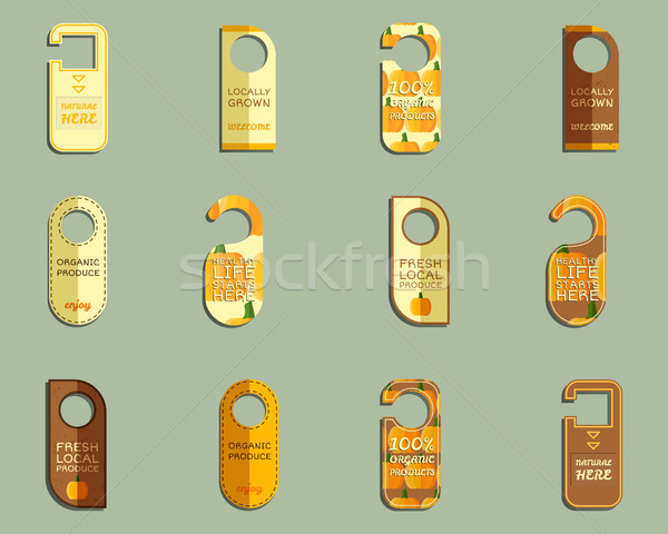Farm Fresh brand Door Badges Set Stock photo © JeksonGraphics