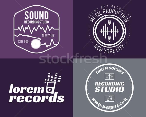 Conjunto música produção logotipo musical etiqueta Foto stock © JeksonGraphics