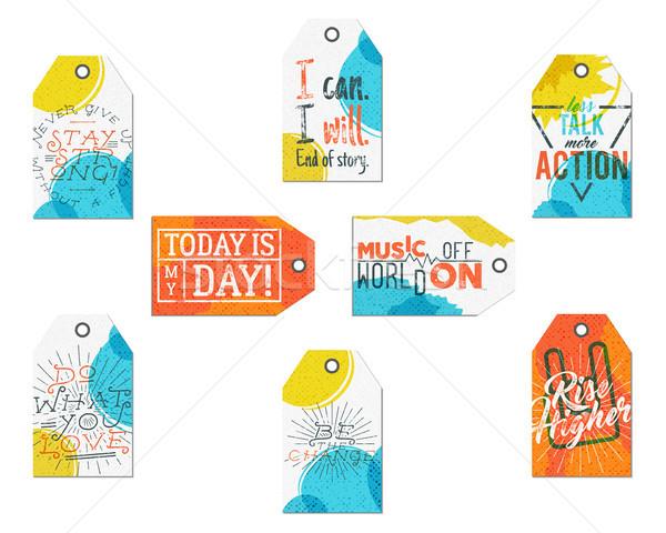 Gyűjtemény kreatív címkék inspiráció tipográfia mondások Stock fotó © JeksonGraphics