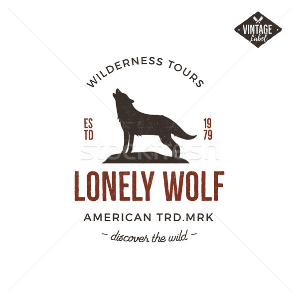 Old style wilderness label with wolf and typography elements. Vintage letterpress effect print. Prin Stock photo © JeksonGraphics