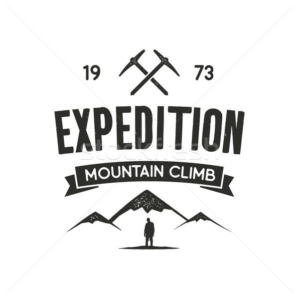 Stock fotó: Hegy · expedíció · címke · mászik · szimbólumok
