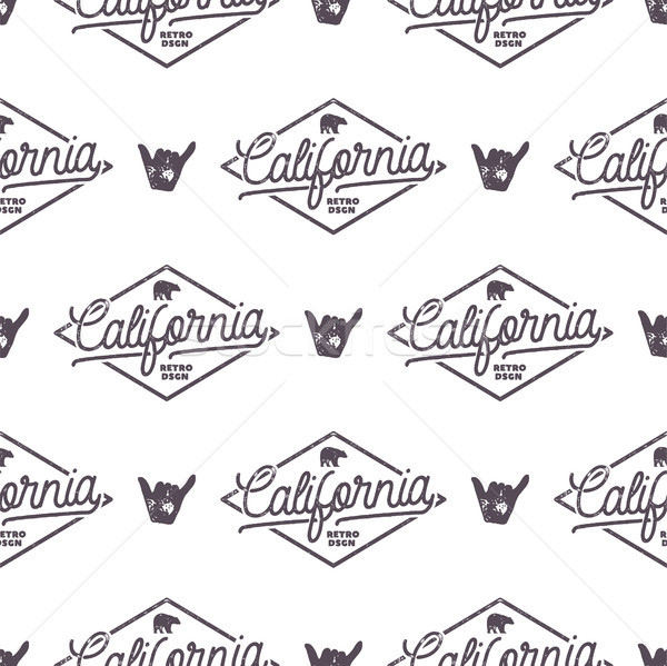 California Surfing monochrome seamless pattern with shaka sign and typography elements. Wilderness w Stock photo © JeksonGraphics