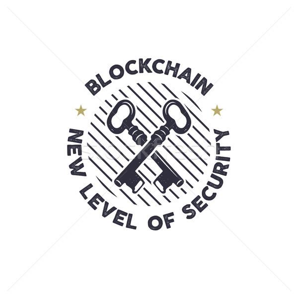 Blockchain - new level of security emblem concept with keys symbol. Digital assets logo. Vintage han Stock photo © JeksonGraphics