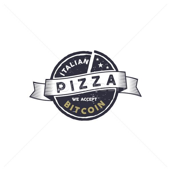 Italiano pizza bitcoin emblema design de logotipo digital Foto stock © JeksonGraphics