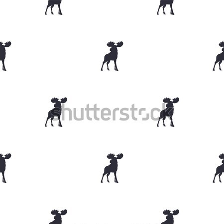 Moose pattern. Wild animal symbols seamless background. Moose icons. Retro wallpaper. Vintage Stock  Stock photo © JeksonGraphics