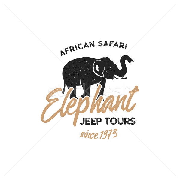 Adventure logo design. Jeep tours badge template. Elephant symbol included. Vintage hand drawn silho Stock photo © JeksonGraphics