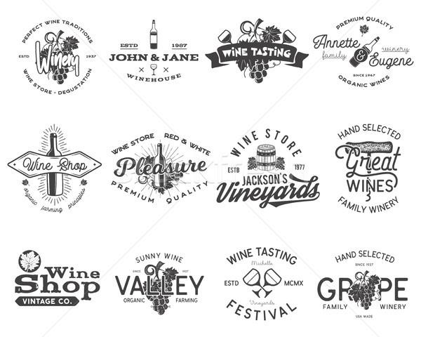 Wijn zwarte logos ingesteld wijnmakerij Stockfoto © JeksonGraphics