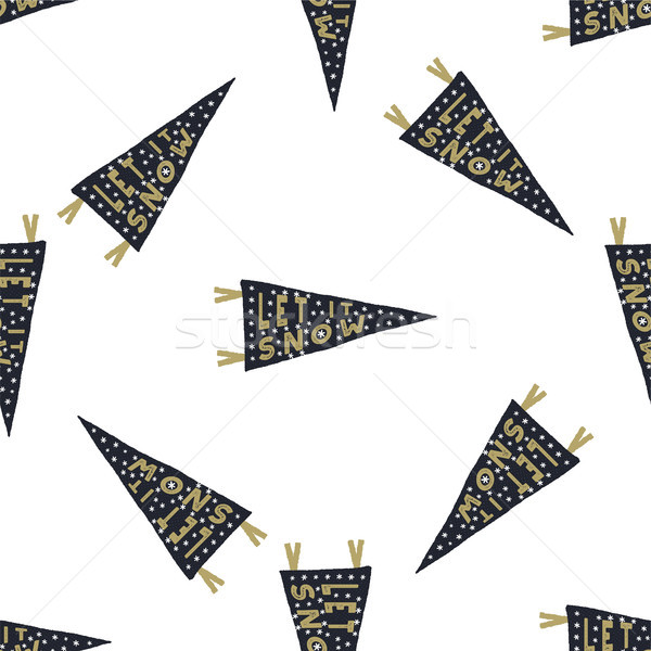 Hand drawn pennants seamless pattern with Christmas type design elements. Lettering, snow. Xmas call Stock photo © JeksonGraphics