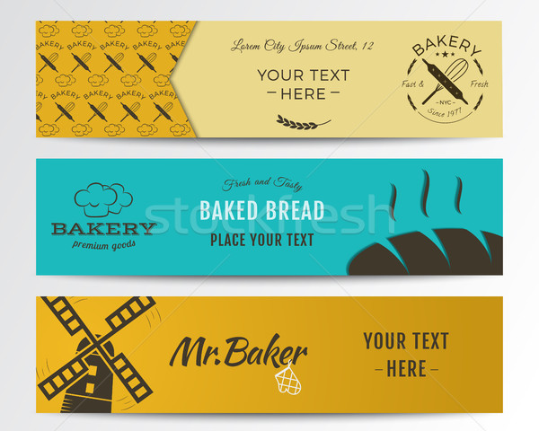 Bakery and food banners collection. Banner set with fresh bread, windmill icons, logos, labels. Styl Stock photo © JeksonGraphics