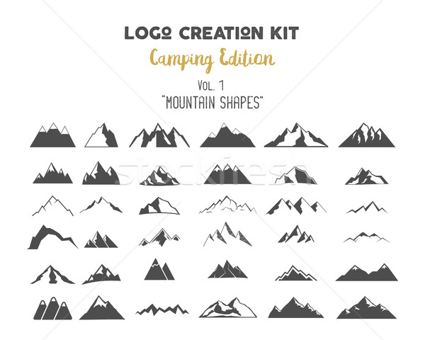Logo creation kit bundle. Camping Edition set. Mountain vector shapes and elements Create your own o Stock photo © JeksonGraphics